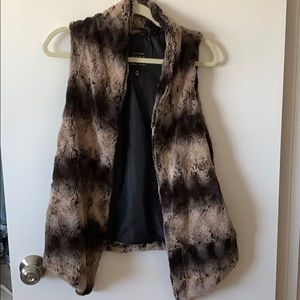 Fuzzy brown and black vest